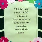 , 19.februārī žetonu vakars